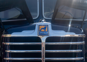 Front view of a buessing truck with chrome strips and reflections of the sun in Braunschweig, Germany, April 7., 2019
