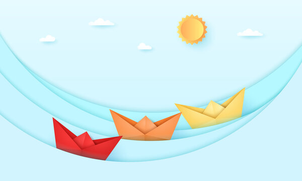 Seascape, Sea with origami boat and with bright sun and sky, ocean waves, paper art style