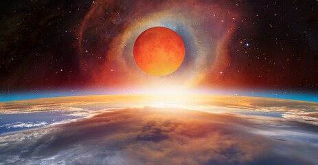 Wall Mural - Big bloody red moon with super nova explosion - Lunar eclipse