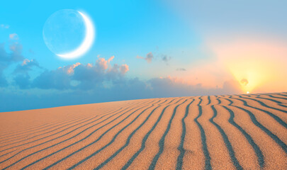 Wall Mural - Night sky with crescent moon in the clouds on the foreground hot desert (sand dune)