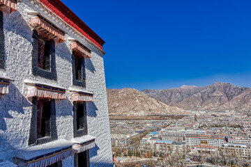 View from the top of the Potala palace Lhasa Tibet