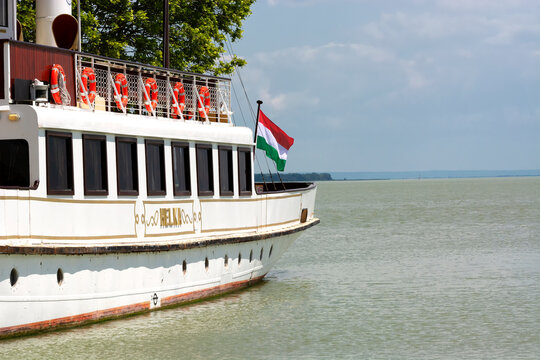 Helka passenger ship in port of Keszthely at Lake Balaton , in 01. June 2020, Hungary