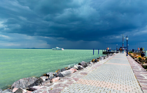 Stormy day at Lake Balaton, Hungary