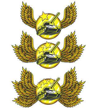 Vector illustration set of golden warrior medal with wings, stars and tanks, war machines