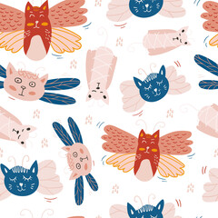 Vector seamless pattern design. Cute and funny cats isolated on the white background. Trendy animals in caps and glasses. Creative childish pink texture. Great for fabric, textile.