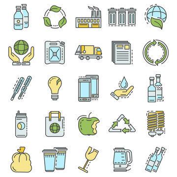 Recycles icon set. Outline set of recycles vector icons for web design isolated on white background