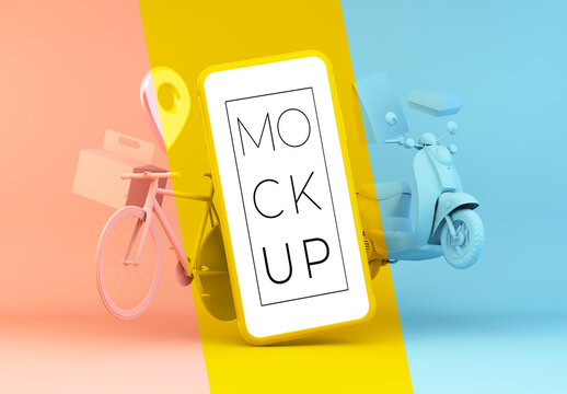 Monochromatic Composition with Delivery Elements and a Smartphone Mockup