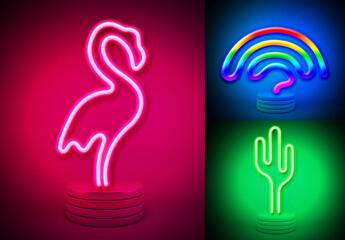 Neon Lamp Effect Mockup