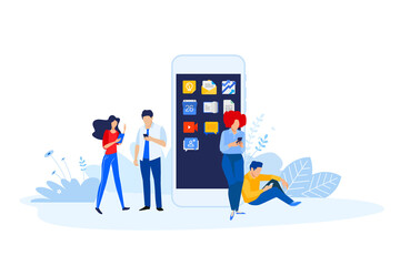 Wall Mural - Flat design style illustration of smartphone apps and services. Vector concept for website banner, marketing material, business presentation, online advertising.