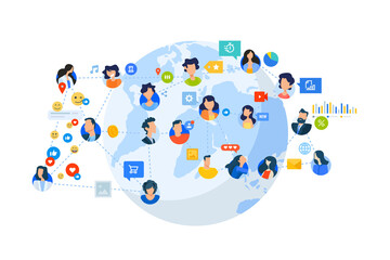 Wall Mural - Flat design style illustration of social network, internet community. Vector concept for website banner, marketing material, business presentation, online advertising.
