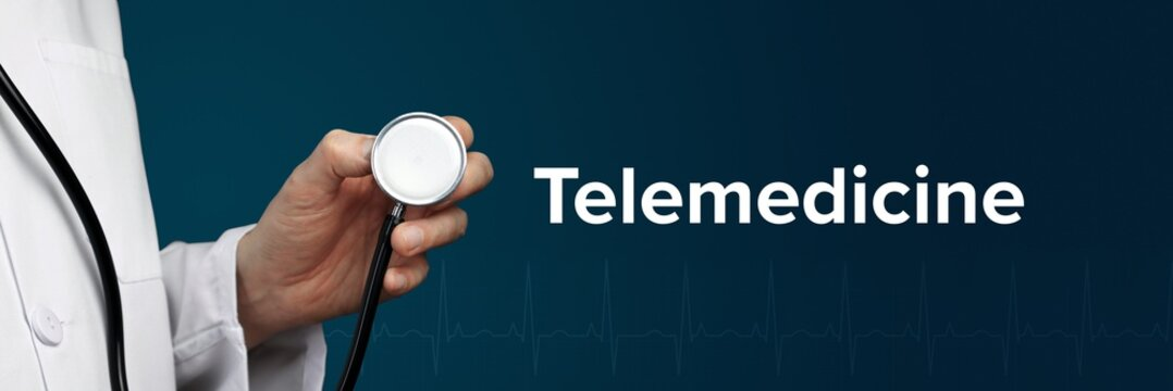 Telemedicine. Doctor in smock holds stethoscope. The word Telemedicine is next to it. Symbol of medicine, illness, health