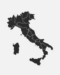 Wall Mural - Italy map with regions isolated on a white background. Map of Italy. Italian outline map. Vector illustration