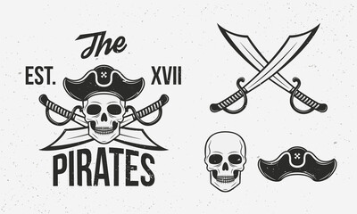Pirates icons set. Crossed swords, skull and pirate hat isolated on white background. Vintage pirate icons for logo. Vector illustration