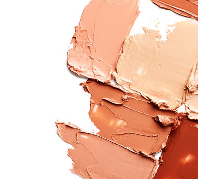 Makeup foundation strokes isolated on white background