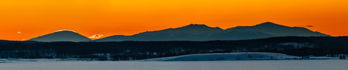 Sunset in the Ural mountains in winter.