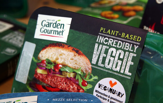 """The """"Incredibly Veggie"""" plant based vegetarian burger of Garden Gourmet is pictured during a media presentation at Nestle in Vevey"""