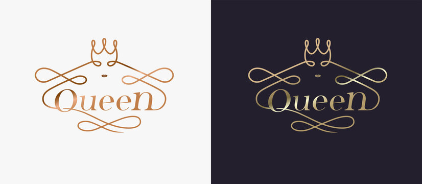 Typography luxury golden queen concept logo design vecter