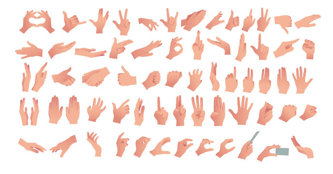Gesturing. Set of hands in different gestures , hand showing signal or sign collection, on white background isolated vector illustration