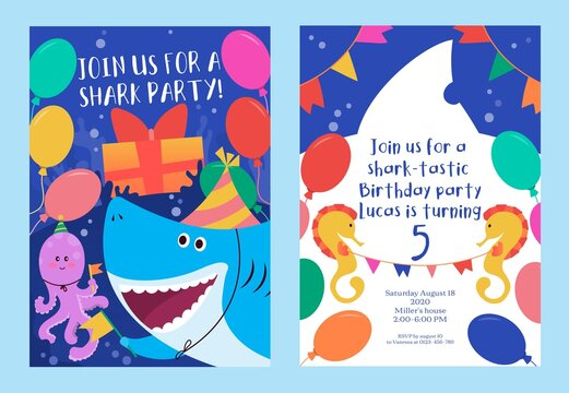 Baby shark colourful party invitation template vector illustration. Join us for shark party flat style. Bright decor. Child happy birthday concept. Isolated on blue background