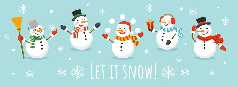 Let it snow card with cute character snowman vector illustration. Happy snowmans in scarf and hat flat style. Happy winter holiday concept. Isolated on blue background