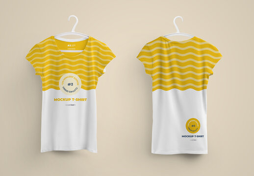 Woman T-Shirts Front and Back Mockup on 6 Different Hangers
