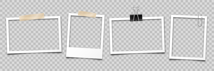 Realistic empty photo card frame, film set. Retro vintage photograph with transparent adhesive tape and paper clip. Digital snapshot image. Template or mockup for design. Vector illustration. Fotobehang