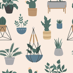 Seamless pattern of house plants in hanging pots, Scandinavian interior with plant holder. Vector illustration, flat cartoon style.