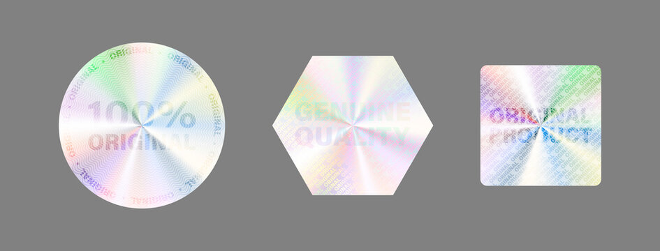 Hologram Label Set Isolate Vector Hologram Sticker