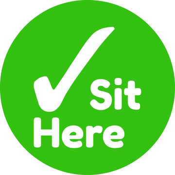 Please sit here green sign vector