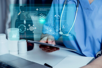 Medical technology and futuristic concept. Doctor hologram modern virtual screen interface.