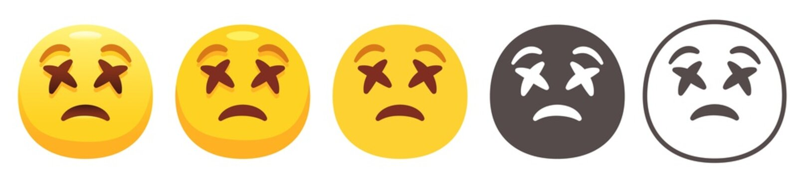 Dizzy emoji. Yellow face with X Cross eyes and sad smile. Dead flat vector icon set