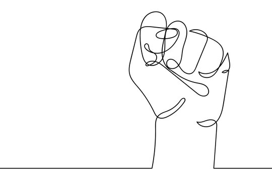 Continuous line drawing of strong fist raised up. Human arm with clenched fingers, one line drawing vector illustration. Concept of protest, revolution, freedom, equality, fight for human rights.