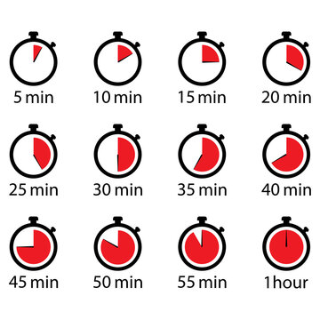Timer ,stopwatch min set icon . 10 EPS Vector