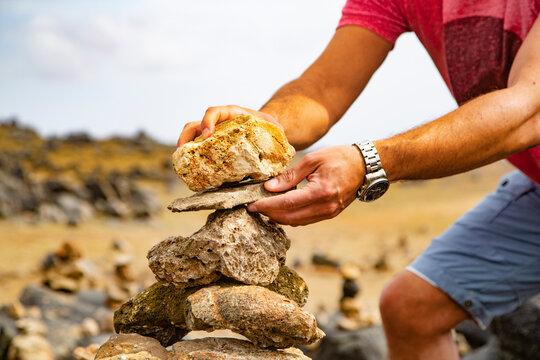 Stone stacking at Baby Beach. Rock Wish Garden in Aruba.