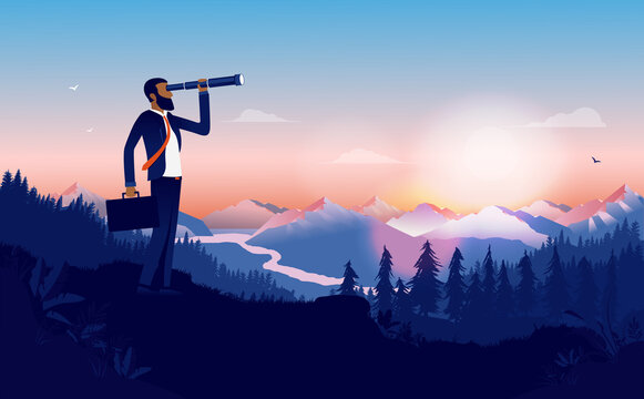 Ethnic businessman looking for opportunities - Man looking into binoculars in beautiful landscape looking for new business, recruiting and searching. Minority career success concept. Vector.