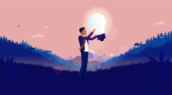 Multiracial businessman holding up a lightbulb in landscape coming up with great business idea. Successful minority entrepreneur and creative worker concept. Vector illustration.