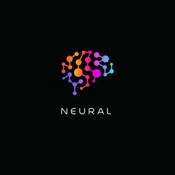 Neural network logo. Human brain emblem. Artificial intelligence icon. Creative thinking vector illustration. Isolated science innovation sign. Colorful neurobiology symbol.