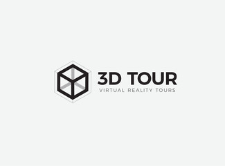 Fototapeta 3D room,house,flat,apartment tour logo. VR vision attraction emblem. Virtual reality journey, landscape panoramic view icon. Isolated interior visualization vector illustration obraz