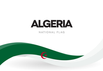 The People's Democratic Republic of Algeria waving flag banner. Algerian green and white patriotic ribbon poster. National public holiday celebration. Isolated Independence day vector illustration.