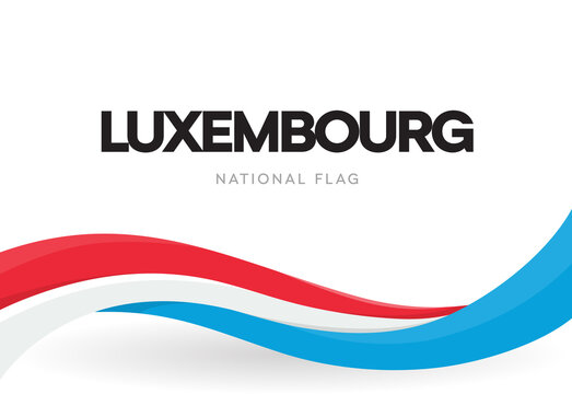 The Grand Duchy of Luxembourg waving flag banner. Luxembourish symbol poster. Luxembourg patriotic ribbon. National day. Isolated world cup, football championship, eurovision vector illustration.