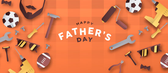 Happy Father's Day 3D paper cut dad icon banner