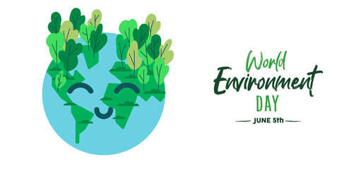 World environment day card of happy green earth