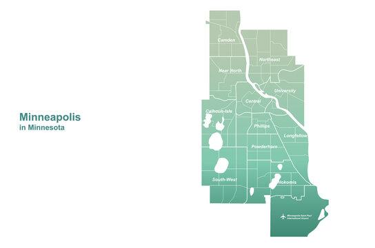 minneapolis map. vector map of minneapolis in minnesota. U.S. city map.