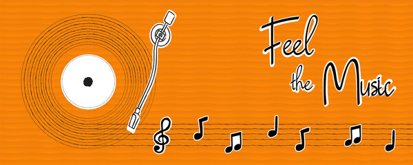 Feel the music hand drawn musical note banner