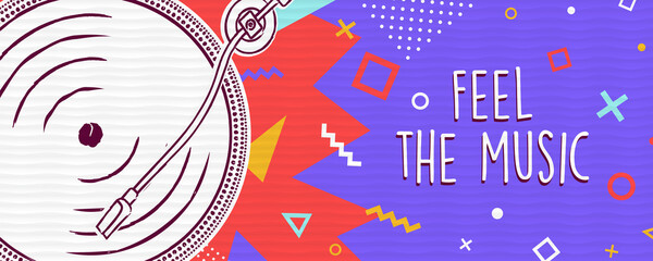 Feel the music retro colorful banner concept