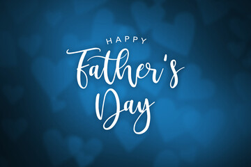 Happy Father's Day Cursive Text With Blurred Blue Hearts Background