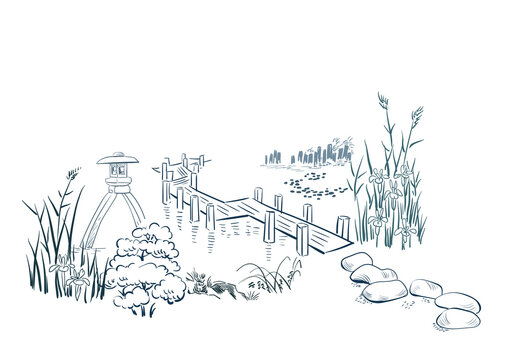 stone garden card nature landscape view landscape card vector sketch illustration japanese chinese oriental line art