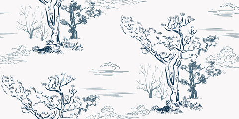 tree forest japanese chinese design sketch ink paint style seamless pattern