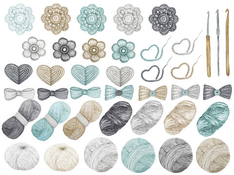 Crochet Shop concept of hooks, Ball of yarn, crocheted heart, bow, hook, flowers. Watercolor Hand drawn hobby Knitting and Crocheting on white background. Elements set scandinavian style clipart
