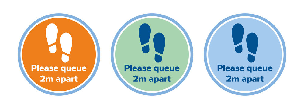 Social distancing 2m metre distance apart floor decal for Coronavirus Covid-19 outbreak pandemic quarantine. Please queue 2m apart from other people with feet footsteps icon